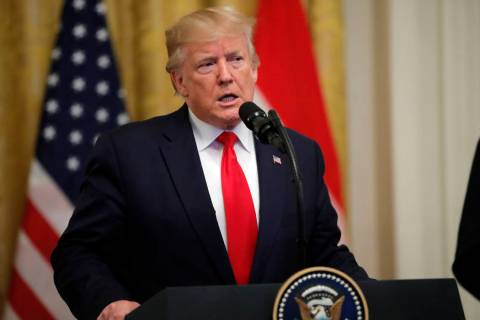 President Donald Trump speaks during a ceremony where Dutch Prime Minister Mark Rutte will pres ...