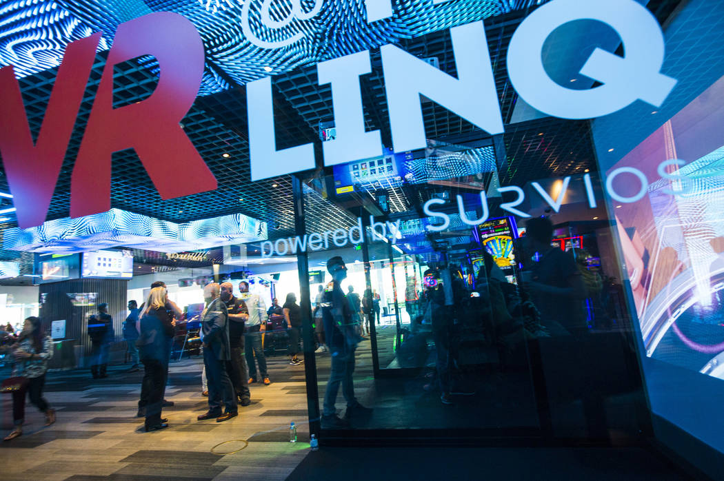 Virtual reality bays, created by Survios, at The Linq Hotel in Las Vegas on Friday, June 7, 201 ...