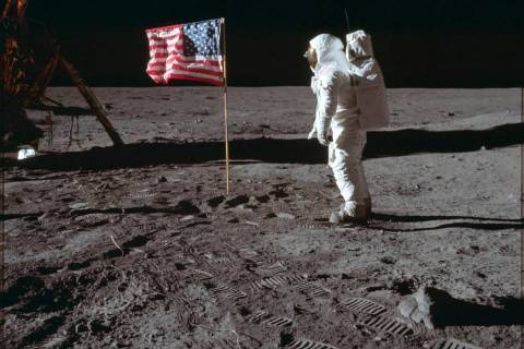 In this July 20, 1969 photo made available by NASA, astronaut Buzz Aldrin Jr. poses for a photo ...