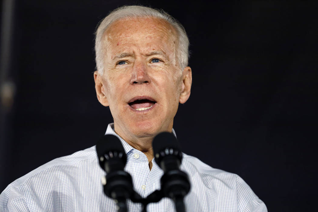 Joe Biden speaks at a community event, Wednesday, July 17, 2019, in Council Bluffs, Iowa. (AP P ...