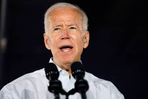 Joe Biden speaks at a community event, Wednesday, July 17, 2019, in Council Bluffs, Iowa. (AP P ...