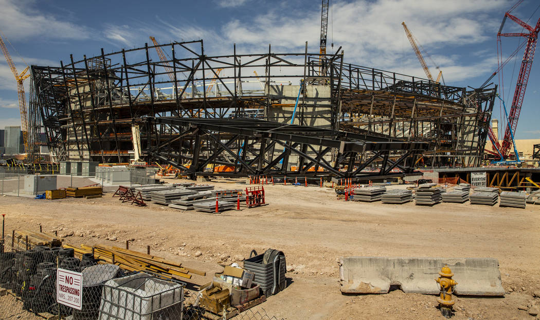 Several trusses are on the ground at the Raiders Stadium where at least one of the 65-ton steel ...