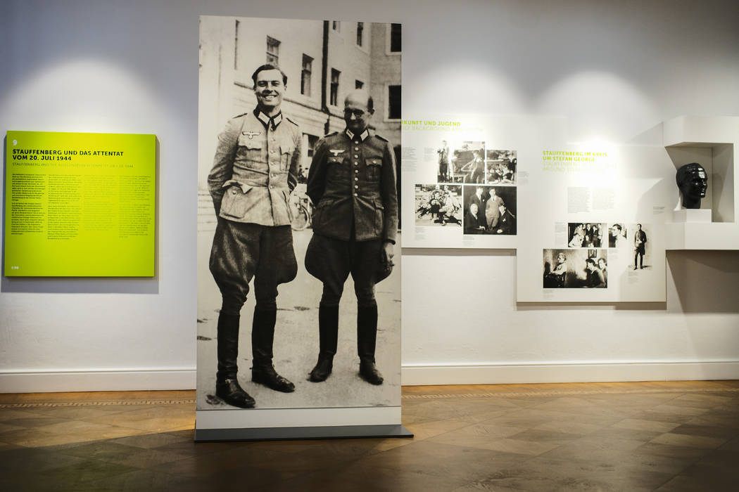 In this Friday, July 12, 2019 photo a picture of Claus Schenk Graf von Stauffenberg, left, and ...