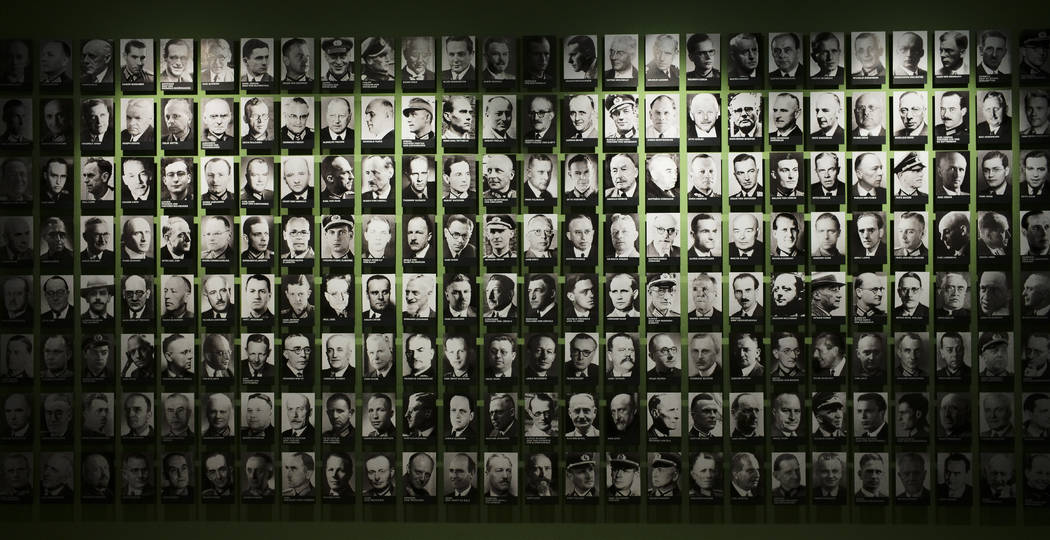 In this Friday, July 12, 2019 photo, pictures of co-conspirators of the failed July 20, 1944 at ...