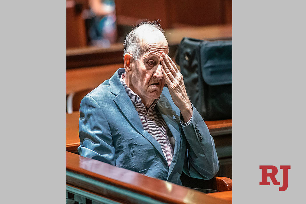 In a Monday, July 15, 2019 photo, Albert Flick, sits in court at his murder trial in Auburn, Ma ...