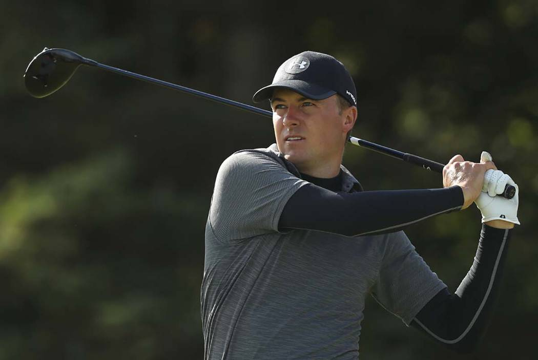 Jordan Spieth of the United States plays his tee shot on the 5th hole during the second round o ...