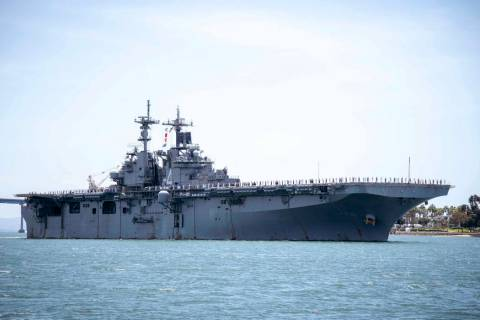 In this May 1, 2019, photo provided by the U.S. Navy, the amphibious assault ship USS Boxer (LH ...
