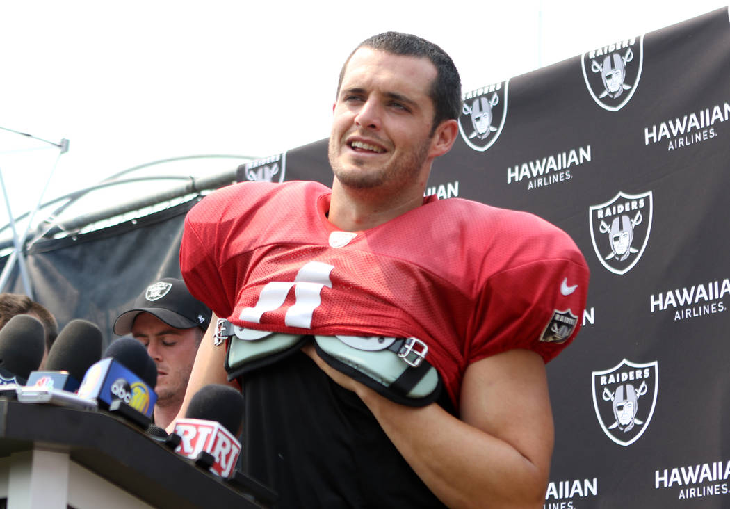 Oakland Raiders quarterback Derek Carr (4) answers questions from the media at the team's NFL t ...