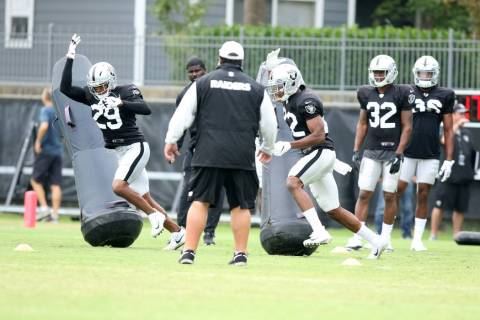 Oakland Raiders defensive backs Leon Hall (29) and Rashaan Melvin (22) brush by tackle posts as ...