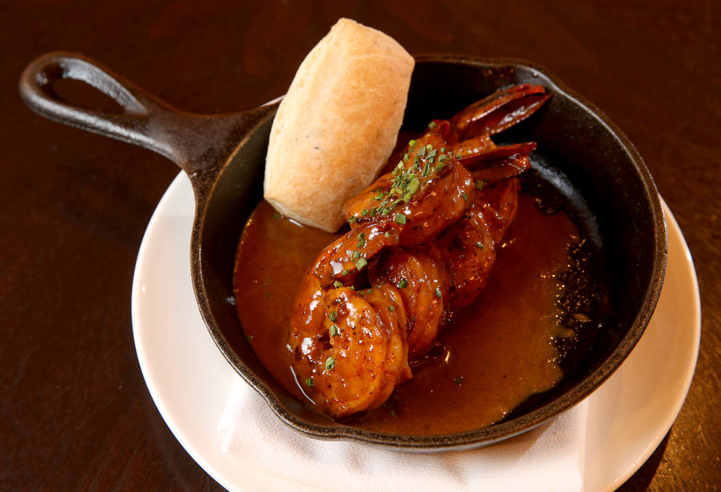 Emeril's BBQ Shrimp at Delmonico Steakhouse at The Venetian in Las Vegas Monday, July 22, 2019. ...