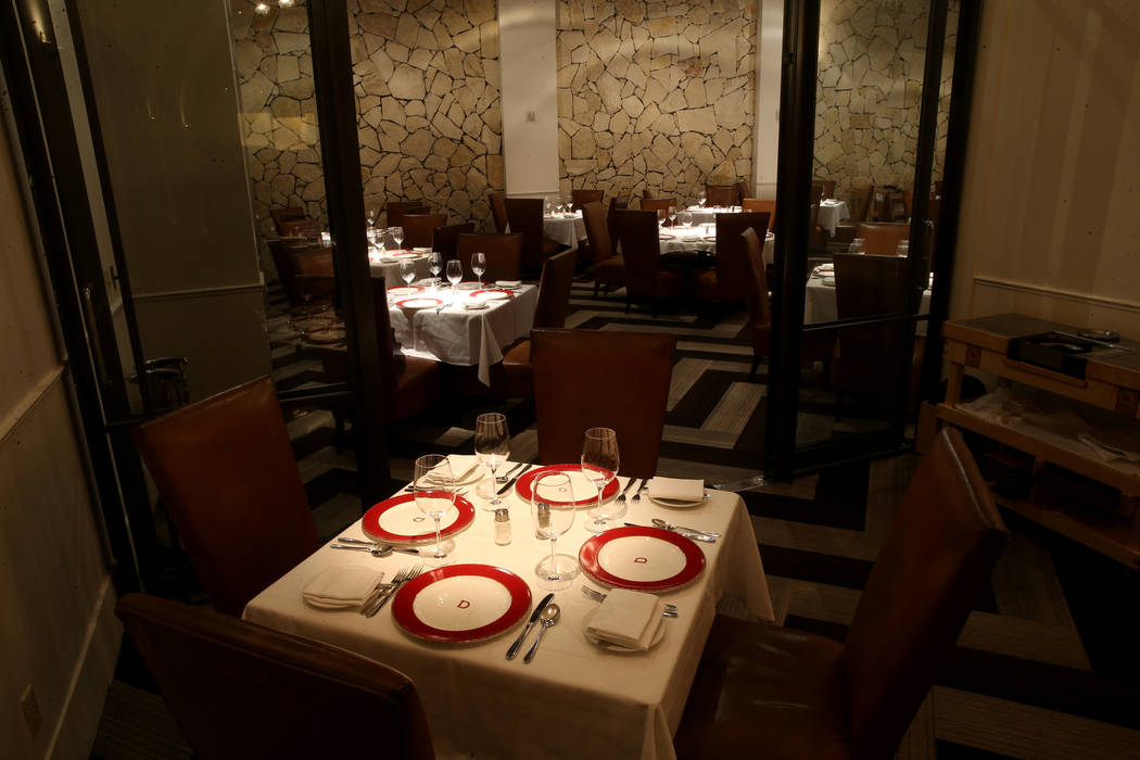 Dining rooms at Delmonico Steakhouse at The Venetian in Las Vegas Monday, July 22, 2019. (K.M. ...