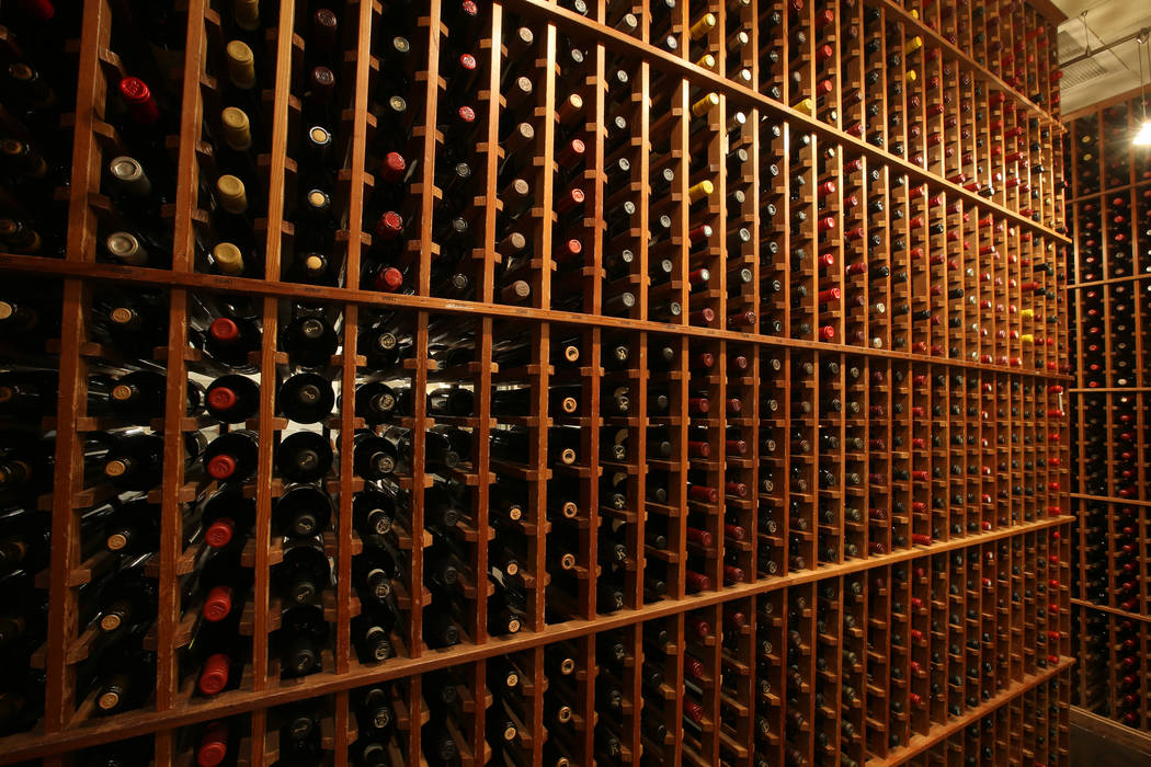 The wine room at Delmonico Steakhouse at The Venetian in Las Vegas Monday, July 22, 2019. (K.M. ...