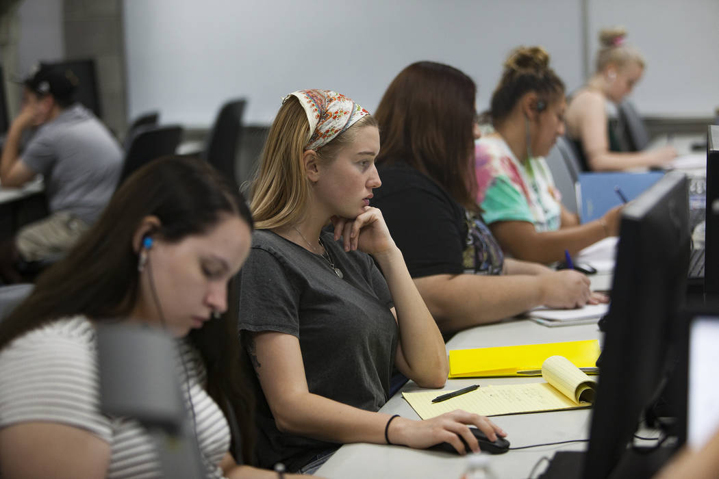 Gabby Benedict works on math in the Math Bridge class at UNLV in Las Vegas, Thursday, July 18, ...
