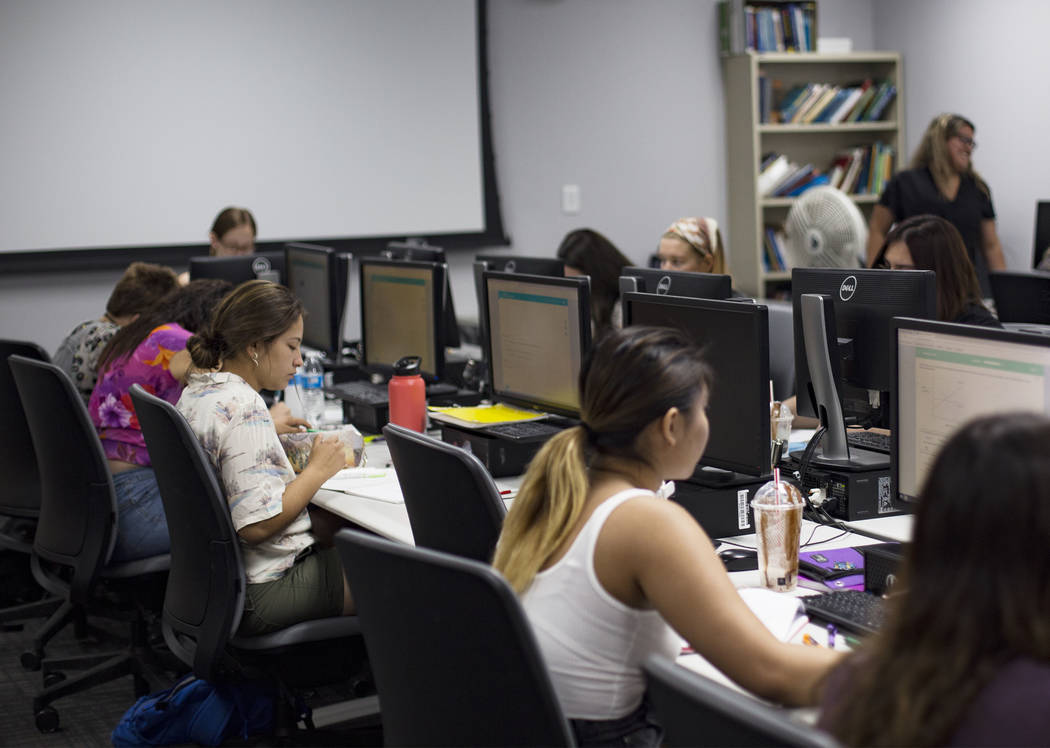 The Math Bridge class at UNLV in Las Vegas, Thursday, July 18, 2019. The class is a way for stu ...