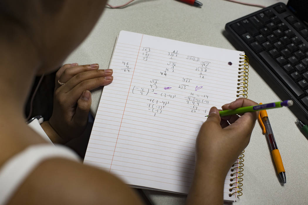 Samantha Kabiling works on an equation in the Math Bridge class at UNLV in Las Vegas, Thursday, ...