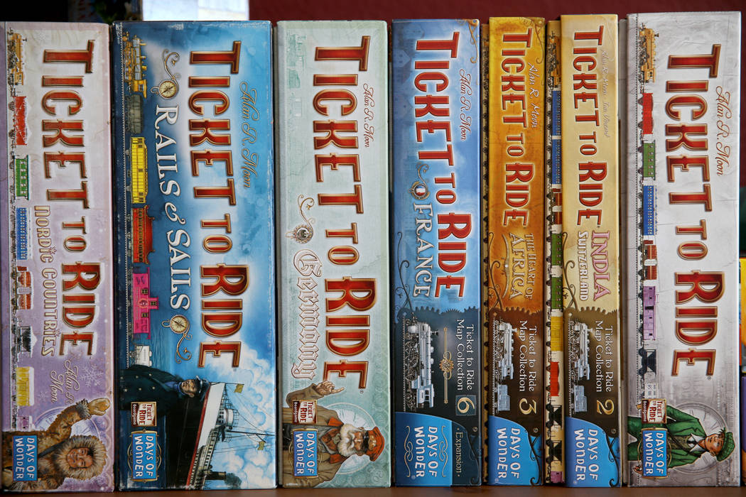 """A variety of the game """"Ticket to Ride"""" at Boarding School Games in Las Vegas, owned b ..."""