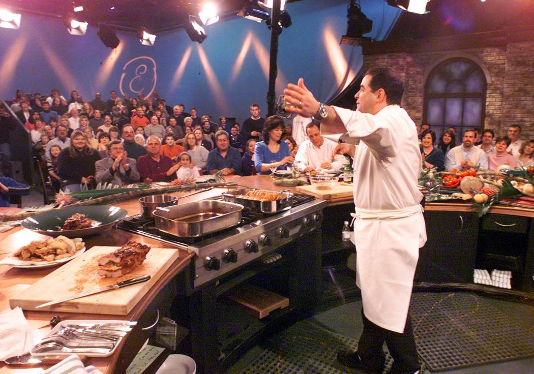 Chef Emeril Lagasse acknowledges the audience during a taping of one of his programs for the Fo ...