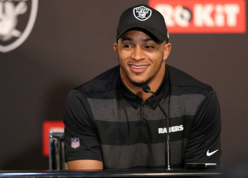 Oakland Raiders no. 27 overall pick of the 2019 NFL Draft, safety Johnathan Abram, answers ques ...