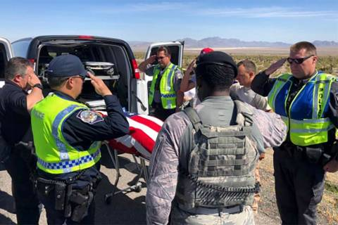 An airman from Nellis Air Force Base died in a rollover crash on U.S. Highway 95 near Lee Canyo ...
