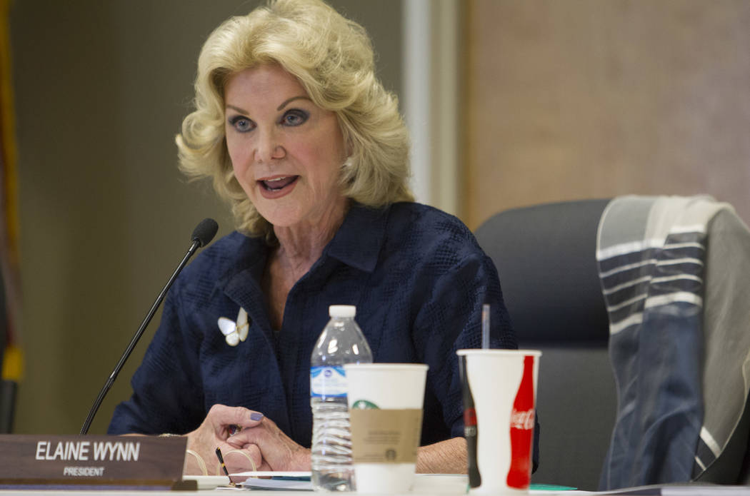 Elaine Wynn speaks during a public hearing at the Nevada Department of Education in Las Vegas o ...