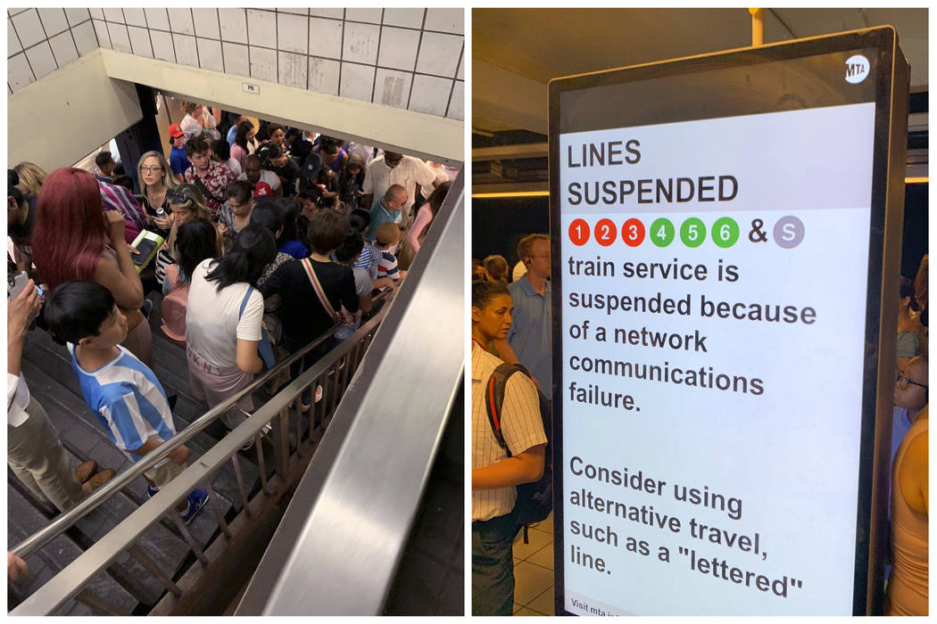 In this photo combo of images provided by Kenneth Ferrone, commuters fill the stairs and line t ...