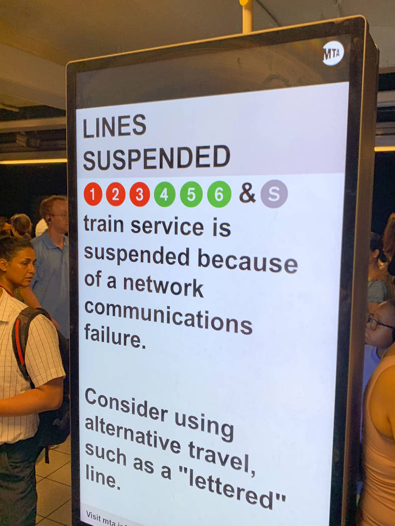 In this photo provided by Kenneth Ferrone, a digital sign on a New York City subway platform wa ...