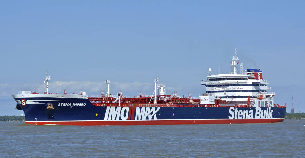 In this May 5, 2019 photo issued by Karatzas Images, showing the British oil tanker Stena Imper ...
