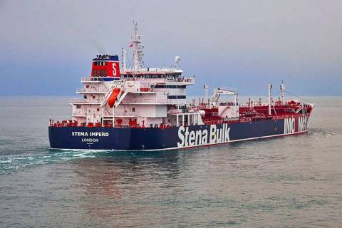 In this undated photo issued Friday July 19, 2019, by Stena Bulk, showing the British oil tanke ...