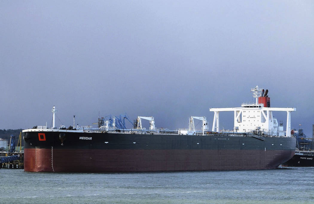 In this May 2, 2013 photo the Liberian-flagged oil tanker Mesdar is seen at an unknown location ...
