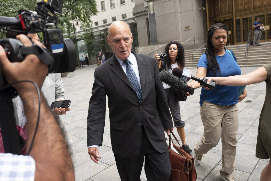 Martin Weinberg, a defense attorney for Jeffrey Epstein, leaves federal court in New York after ...