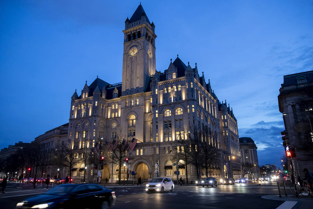 FILE - In this Jan. 23, 2019, file photo, the Trump International Hotel near sunset in Washingt ...