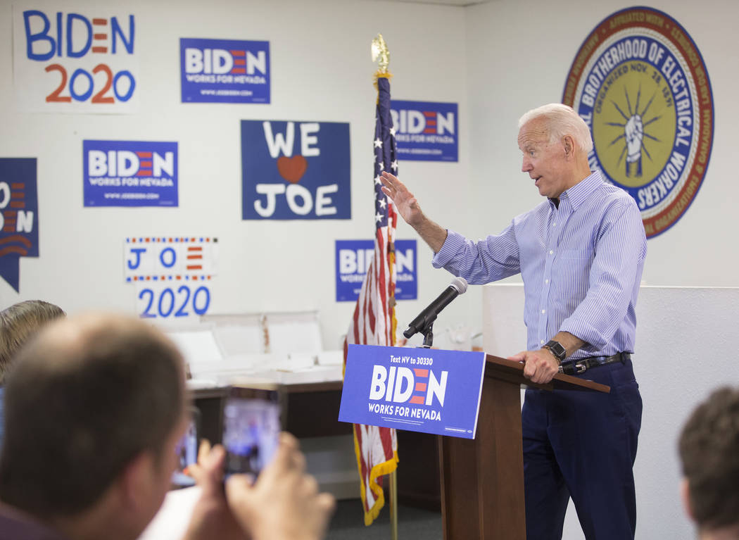 Democratic presidential candidate former Vice President Joe Biden, right, speaks during the Day ...