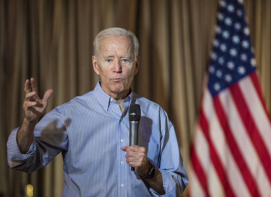 Democratic presidential candidate former Vice President Joe Biden speaks during Local Brews and ...