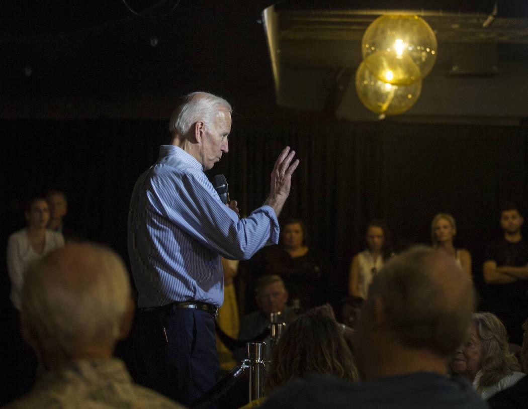 Democratic presidential candidate former Vice President Joe Biden, left, speaks during Local Br ...