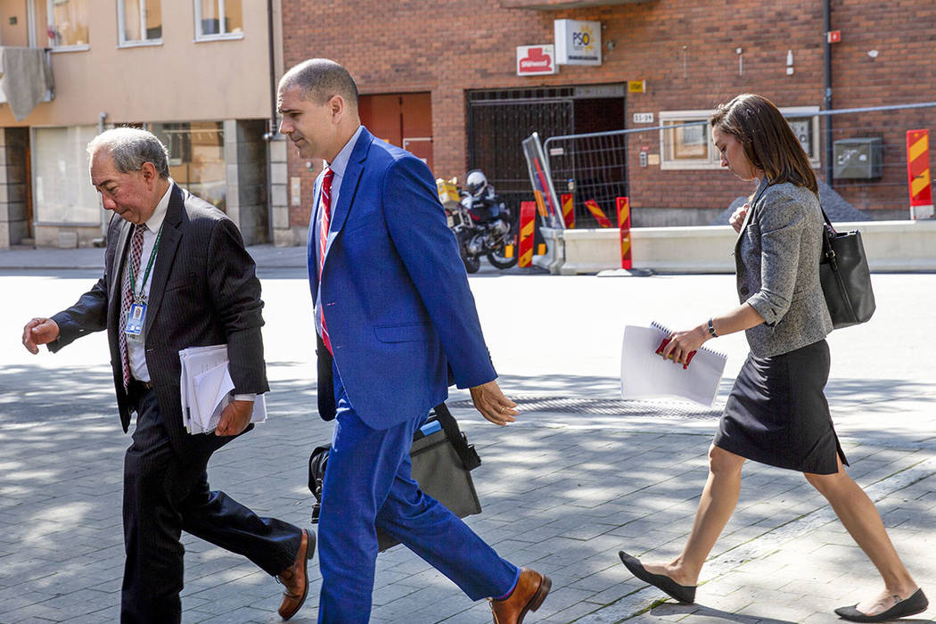 US Deputy Foreign Minister Carl Risch on his way to visit rapper A$AP Rocky at the Kronoberg cu ...