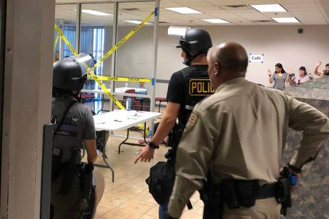 Metropolitan Police Department officers participate in an active-shooter drill with University ...