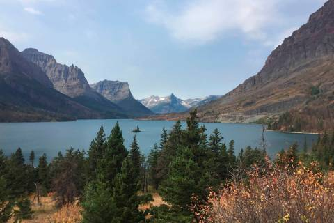 A 2017 view from the Going-to-the-Sun Road in Glacier National Park in Montana, with a lake rin ...