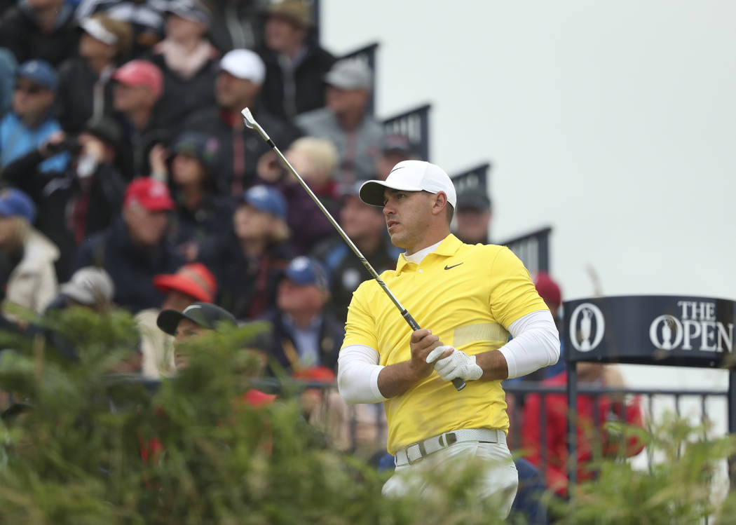 Brooks Koepka of the United States plays from the 3rd tee during the final round of the British ...