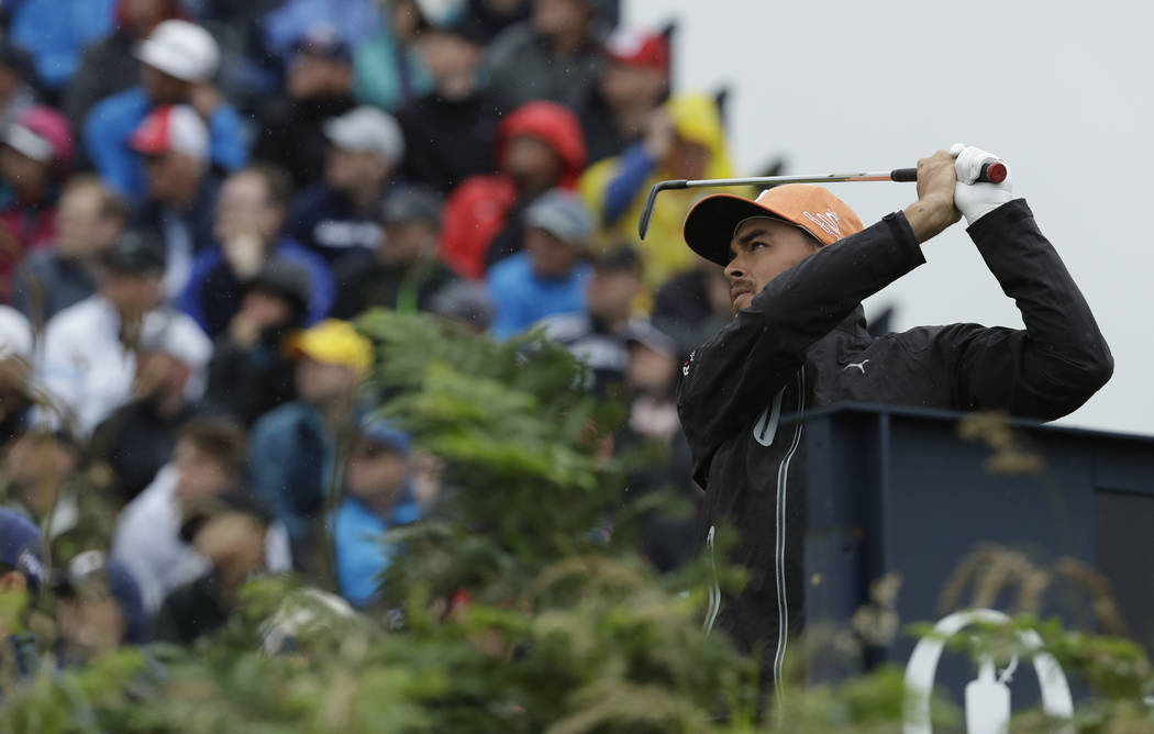 Rickie Fowler of the United States play his tee shot on the 3rd during the final round of the B ...