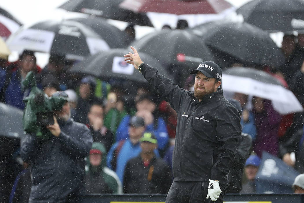 Ireland's Shane Lowry's ball goes left off the 9th tee during the final round of the British Op ...