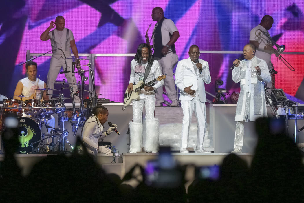 FILE - In this Aug. 9, 2017 file photo, Earth, Wind and Fire performs on stage at the Verizon C ...