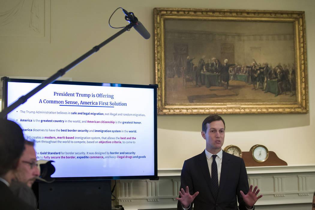 White House Senior Adviser Jared Kushner speaks about border security to President Donald Trump ...