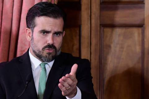 Puerto Rico Gov. Ricardo Rossello speaks during a press conference in La Fortaleza's Tea Room, ...