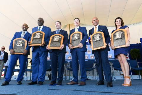 National Baseball Hall of Fame inductees Harold Baines, Lee Smith, Edgar Martinez, Mike Mussina ...