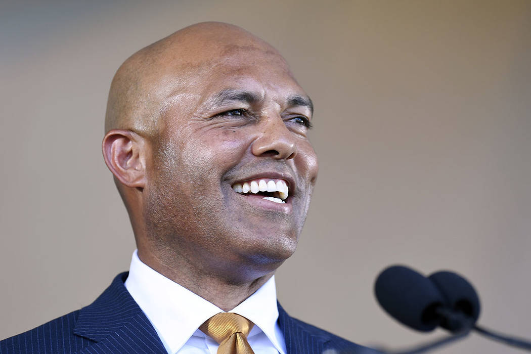 Former New York Yankees pitcher and National Baseball Hall of Fame inductee Mariano Rivera spea ...