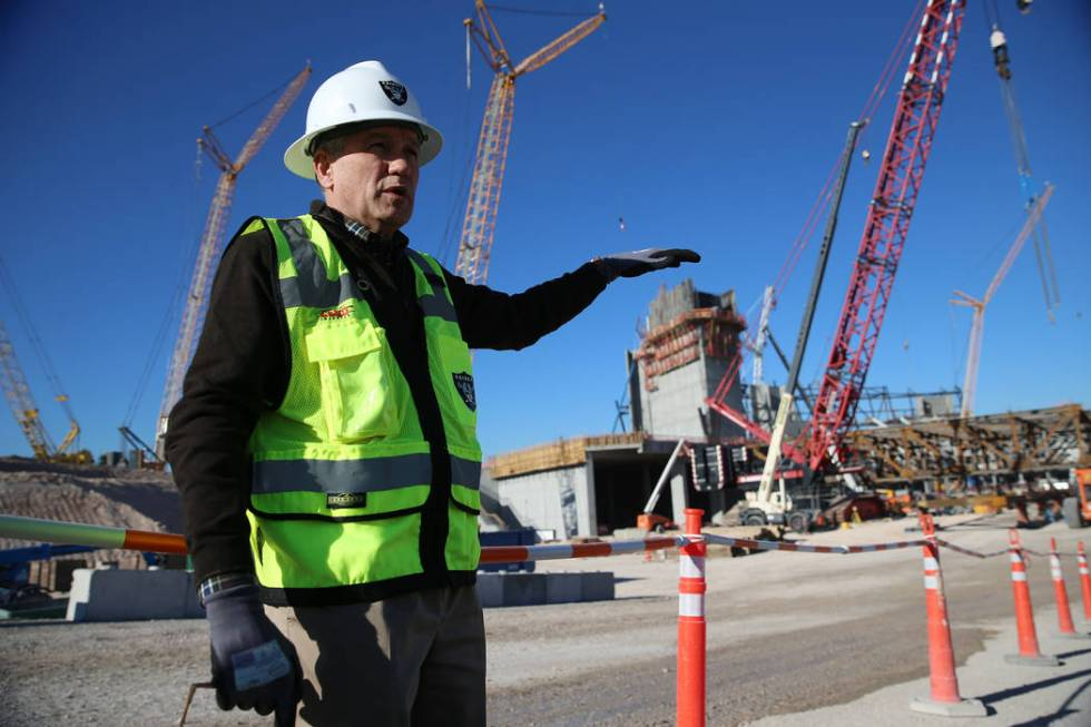 Don Webb, chief operating officer of the LV Stadium Co., gives a tour of the Raiders stadium co ...
