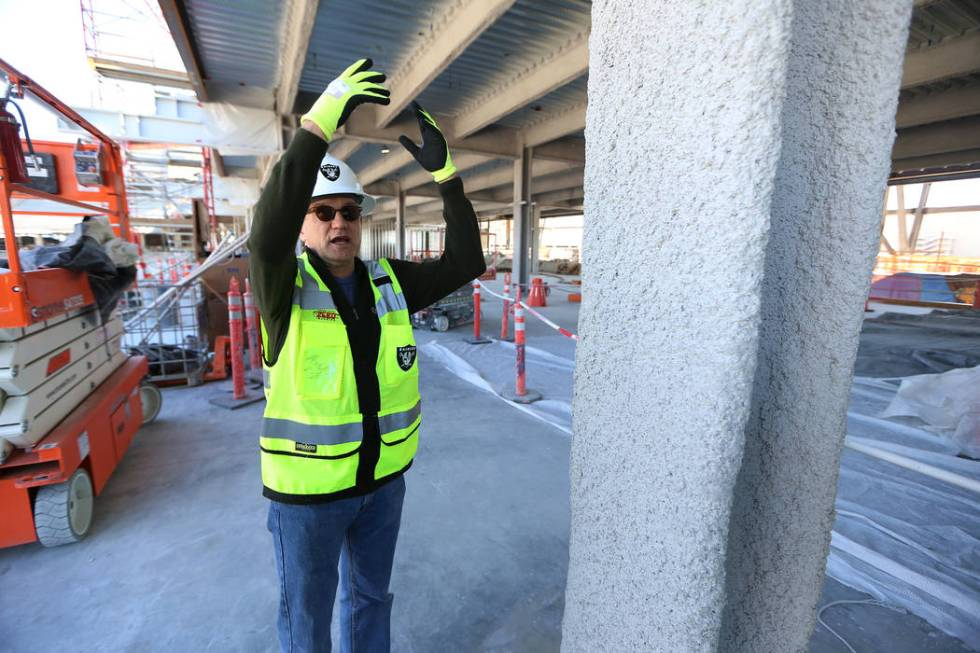 Don Webb, chief operating officer of the LV Stadium Co., shows the steel beam fire proofing at ...
