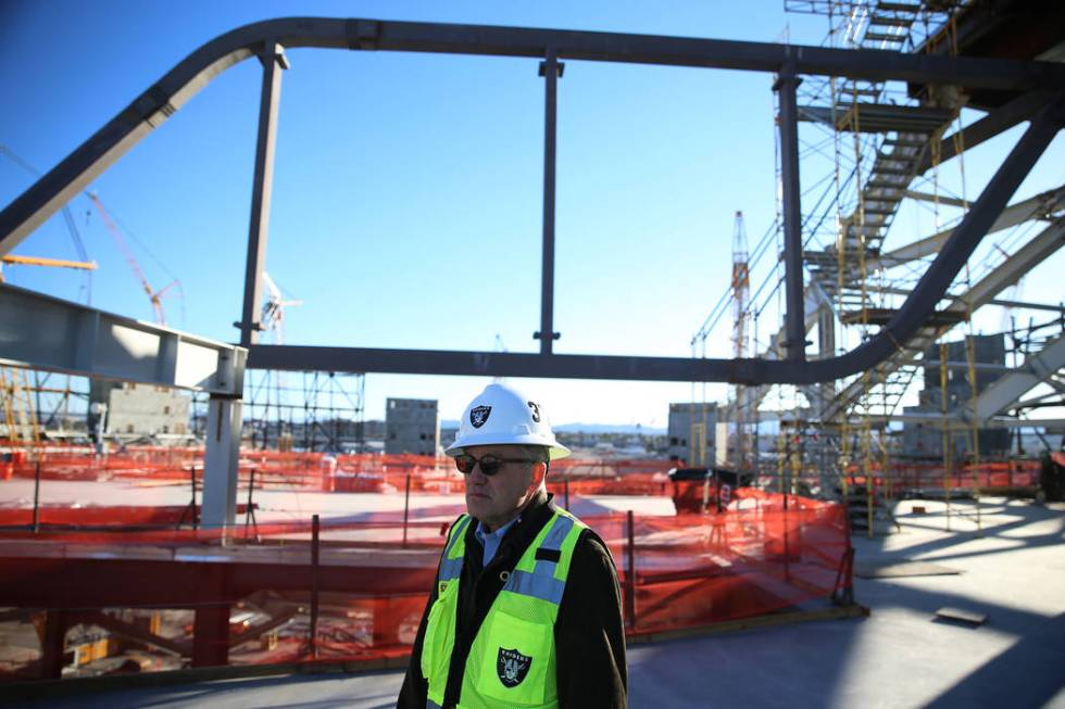 Don Webb, chief operating officer of the LV Stadium Co., during a tour of the Raiders stadium c ...