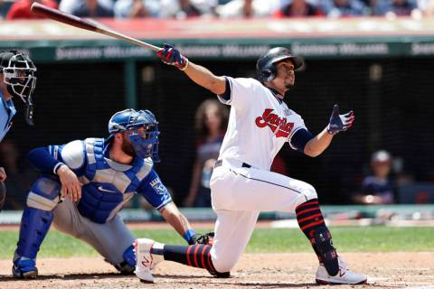 Cleveland Indians' Francisco Lindor watches his ball after hitting a two-run home run in the th ...