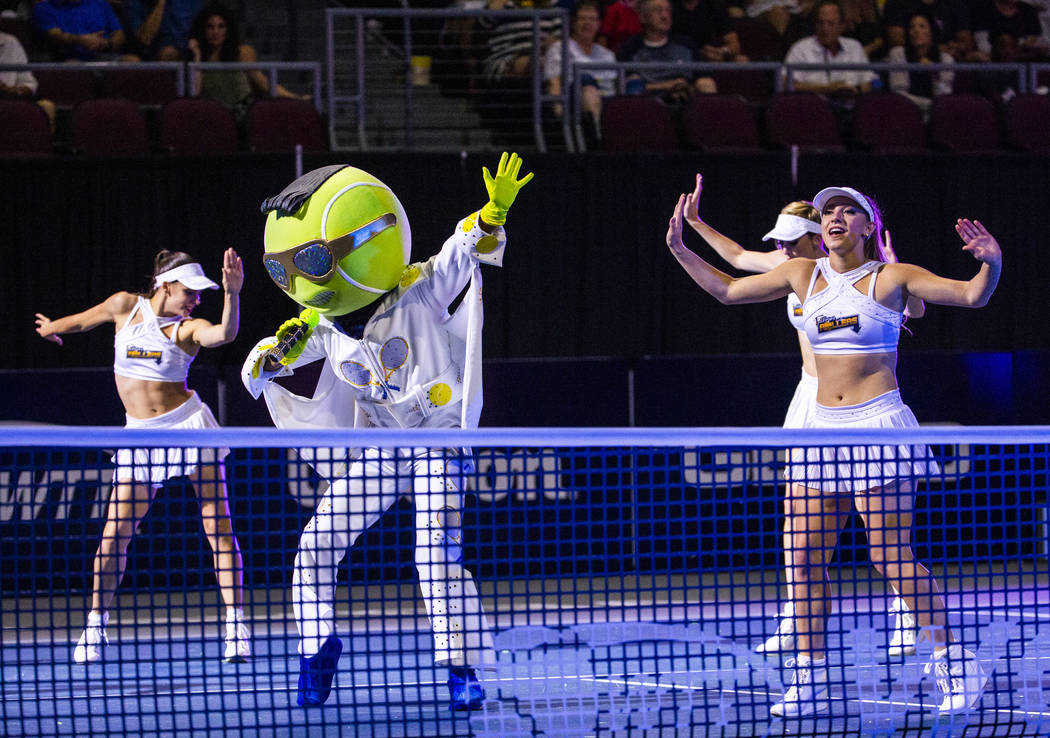 The Vegas Rollers' mascot King performs with the Rollers Dancers during a break between sets ve ...